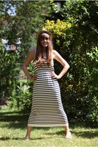 navy stripes Primark dress - brown aviator Michael Kors sunglasses