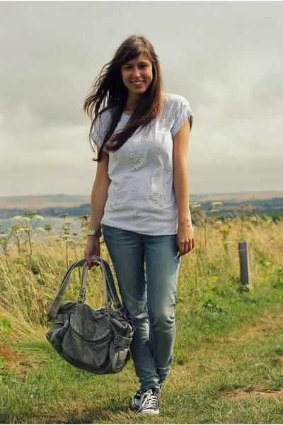 heather gray sequin Topshop top - sky blue skinny Levis jeans