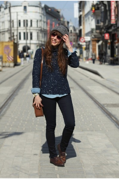 navy skinny G-Star jeans - navy sparkly Zara sweater - sky blue denim Zara shirt