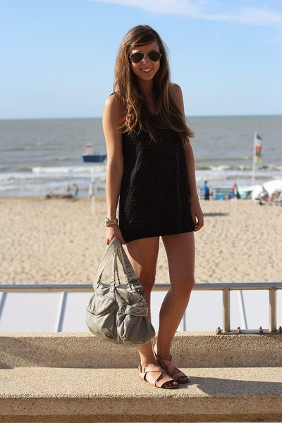 black sequin Bershka dress - silver oversized Urban Outfitters bag