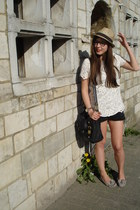 leather asos bag - jeans H&M shorts - suede Topshop loafers - lace Zara top