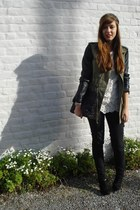 white crochet Zara top - black leather sleeves Zara coat