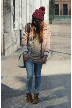 blue skinny Levis jeans - magenta beanie Zara hat - light pink parka H&amp;M jacket