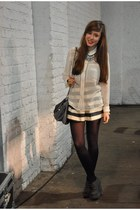 white sheer H&M shirt - charcoal gray Springfield purse
