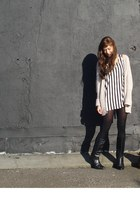 black leather vintage boots - black H&M dress - light pink wool Bershka cardigan