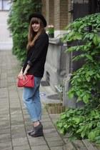 blue boyfriend River Island jeans - black H&M hat - black H&M blazer