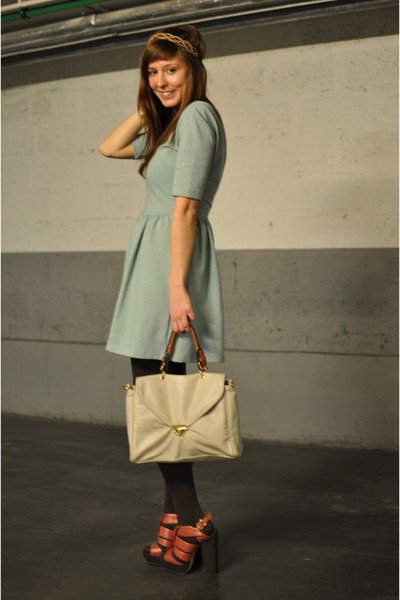 off white Urban Outfitters bag - aquamarine Zara dress - coral asos heels