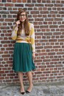 Mustard-wool-annemie-verbeke-jumper-dark-green-pleated-american-apparel-skirt