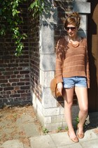 bronze knitted new look sweater - bronze leather Urban Outfitters bag - blue den