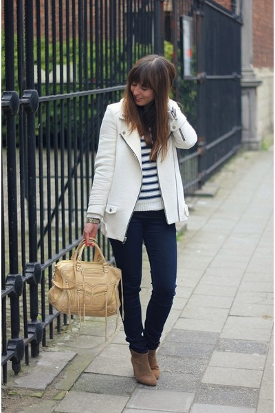 eggshell leather Rebecca Minkoff bag - light brown suede Zara boots