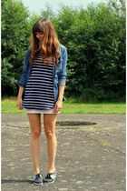 navy boat shoes Timberland shoes - blue striped Zara dress