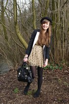 camel polka dot AX Paris dress - black Topshop hat - black H&M blazer