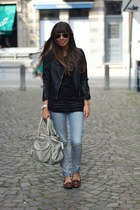 black biker Mango jacket - light blue skinny Levis jeans - black striped H&M top