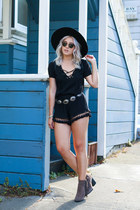 lace-up topshelf top - Buffalo Exchange hat - pom-pom tassel Boohoo shorts