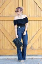 Current Elliot jeans - fringe clutch Le Tote bag