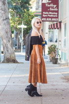 suede thrifted vintage skirt - garage top