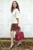 brick red new look bag - brown skirt - ivory H&M top