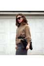 Black-asos-sunglasses-black-new-look-belt-charcoal-gray-h-m-skirt