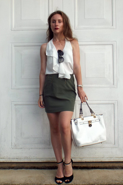 Dark Khaki H&M Skirts, White La Moda Bags, Black Asos Sunglasses ...