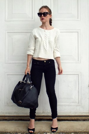 black shoes - black Primark bag - black asos sunglasses - white H&M jumper