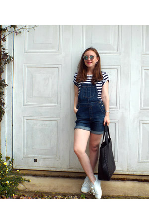 white Mango shoes - blue Fat Face romper - white H&M t-shirt