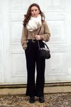 camel H&M jumper - black H&M pants - black new look belt