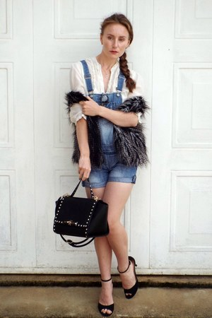 black Primark shoes - silver H&M jacket - black bag - blue new look romper