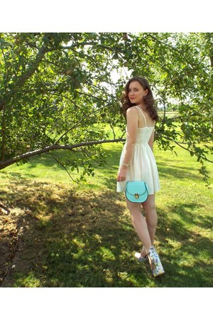 aquamarine new look bag - light pink Primark shoes - ivory H&M dress