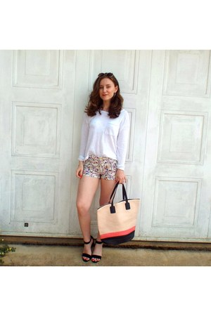 light pink bag - bubble gum H&M shorts - ivory jumper - black Primark heels