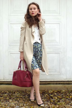 H&M coat - ruby red new look bag - turquoise blue H&M shorts