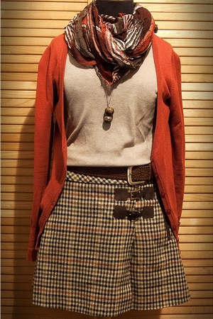 ruby red scarf - tan blouse - ruby red button down Zara cardigan