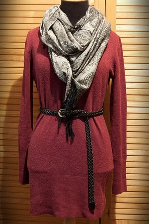 black boots - maroon cotton dress - charcoal gray leggings - heather gray scarf
