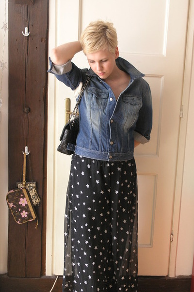 black Chanel purse - blue vintage pants - blue Diesel jacket