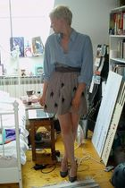 beige DIY Miu Miu skirt - blue vintage shirt - beige H&M belt - gray Zara shoes