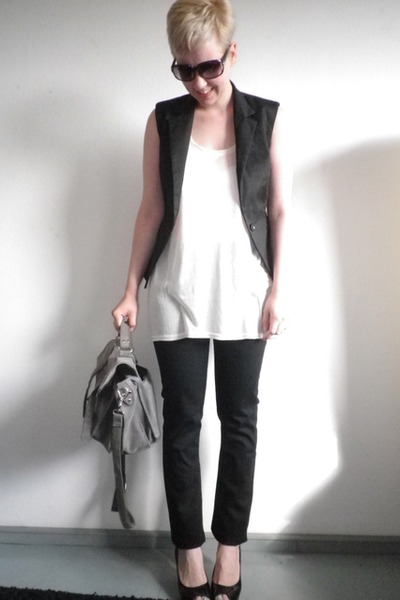 black Zara vest - white H&M top - black H&M jeans - black from Kosovo shoes - gr