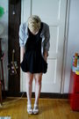 Black-zara-skirt-black-zara-t-shirt-gray-h-m-sweater-white-bcbggirls-shoes