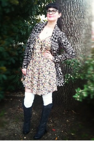 free people dress - Fergie boots - free people jacket