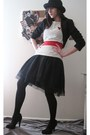 Black-thrifted-blazer-white-american-apparel-top-black-vintage-dress-black