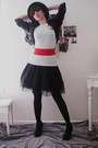 Black-thrifted-blazer-white-american-apparel-top-black-vintage-dress-black