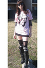 Pink-self-made-t-shirt-gray-calvin-klein-shirt-black-thrifted-skirt-black-