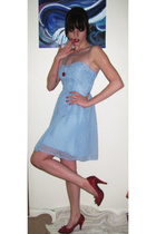 blue Rodarte dress - red vintage shoes - red accessories