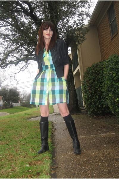 black Dollhouse jacket - black boots - blue vintage dress - black socks