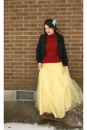 black H&M jacket - brick red thrifted sweater - yellow dress as skirt windsor sk