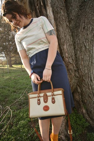 ivory D & B bag - navy vintage dress