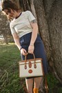 Navy-vintage-dress-ivory-d-b-bag