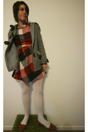 red handmade dress - charcoal gray Dear Creatures jacket - ivory We Love Colors