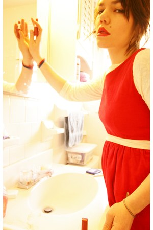 red Goodwill dress - ivory Goodwill shirt - light pink We Love Colors tights