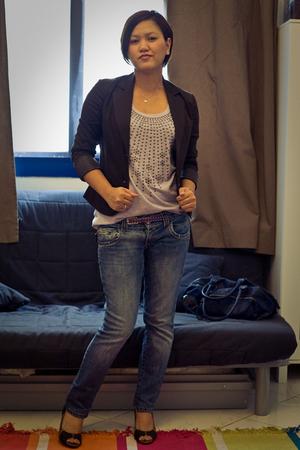 Bershka jacket - Bershka top - pull&bear jeans - Vincci shoes - H&M - Aldo sungl