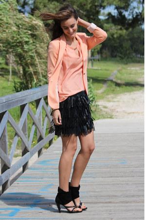 leather skirts Zara skirt - Zara blazer - Zara blouse - Mango bracelet
