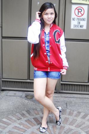 red Urban jacket - navy bench shorts - navy Folded & Hung blouse